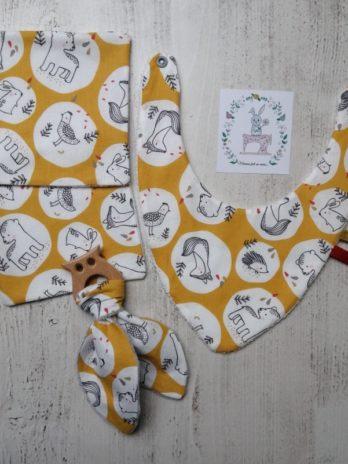 Coffret cadeau «animaux de la forêt fond jaune moutarde»