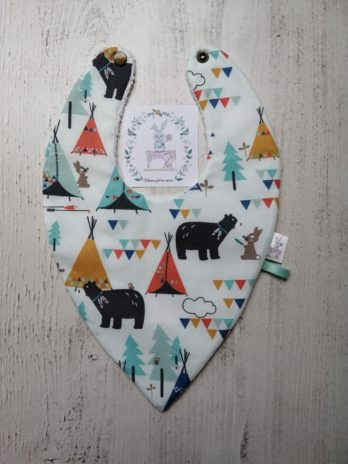 Bavoir bandana, collection ours et tipis