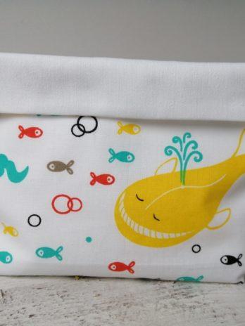 Corbeille en tissu, «baleines et poissons»