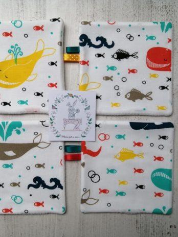 Lot de 4 lingettes lavables «baleines et poissons»