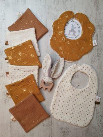 Collection complète en double gaze de coton beige et ocre