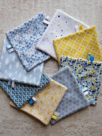 Lot de 8 lingettes, thème «bleu et jaune»