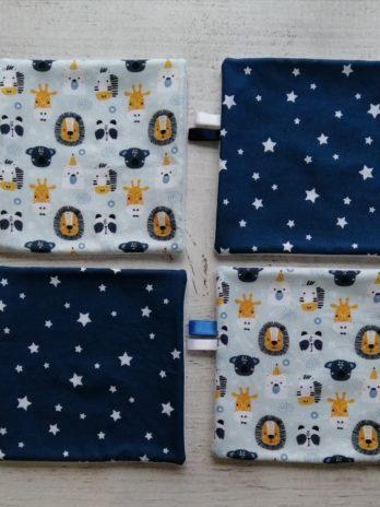 Lot de 4 lingettes lavables, savane et étoiles