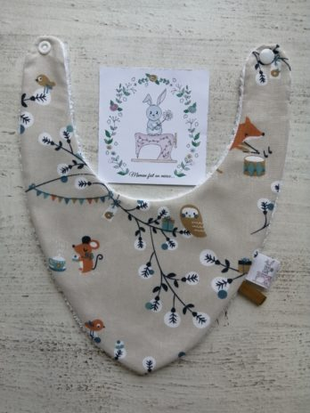 Bavoir bandana, collection renard, chouette et tambour