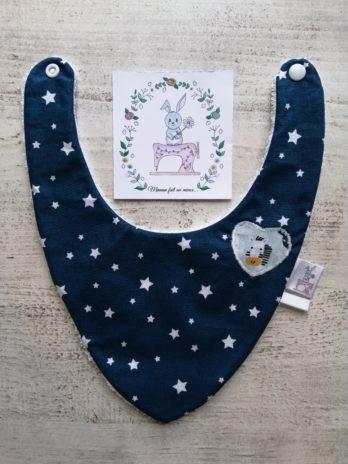 Bavoir bandana bleu à étoiles