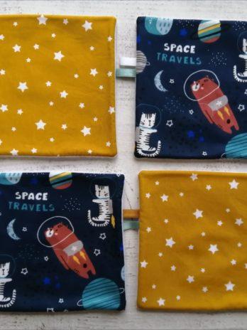 Lot de 4 lingettes lavables, collection cosmonaute