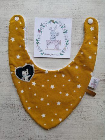 Bavoir bandana moutarde étoiles, collection cosmonaute